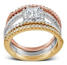 rose coloured rings images 2 carat princess cut tri color white rose and yellow gold trio jpg