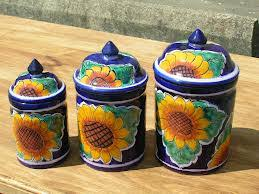 sunflower canisters for kitchen talavera sunflower canisters want talavera pottery mexican