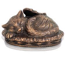 cat cremation metallic copper sleeping angel cat cremation urn