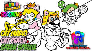 how to color cat mario cat peach and sprixie princess super