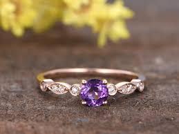 amethyst diamond engagement ring 0 5 carat round amethyst diamond engagement ring 14k rose gold art