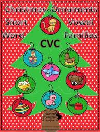 ornaments cvc vowel word families flash cards
