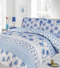 double bed duvet quilt cover bedding set floral blue finesse