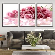 wall paintings murals promotion shop for promotional wall 3 pieces home decoration canvas painting pink roses flowers art picture frame painting core mural decor paintings wall art decor