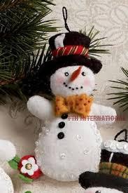 in july ivory wool felt snowman mini wall hanging