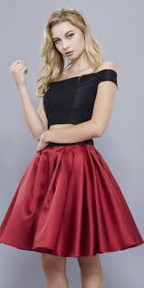 burgundy black off shoulder two piece short prom dress satin skirt