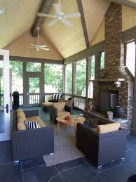 Screen Porch Fireplace by Modern Porch With Stone Fireplace By Brian D Patterson Zillow