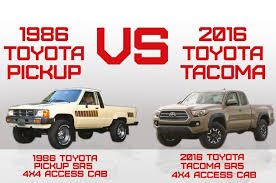 toyota tacoma diesel truck 1986 versus 2016 the toyota through the years