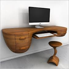 Rustic Wooden Desk Rustic Contemporary Floating Wooden Desk With Stool In Brown Color