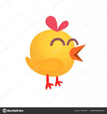 small chicken cartoon cute yellow chick vector illustration of a yellow small