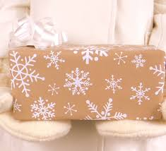 rustic christmas wrapping paper white snowflakes on brown kraft wrapping paper 10 ft x 2 ft