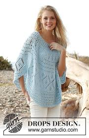 drops design poncho blue drops 145 18 free knitting patterns by drops design
