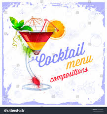 cocktails menu drawn watercolorrecipes ingredients on stock vector