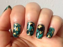 notd gold flecked turquoise water spotted nails u0026 nail art