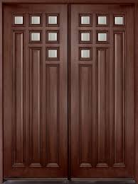 entry door in stock double solid wood with dark mahogany