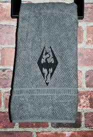 skyrim geek video game gift arrow to the knee bathroom hand towel