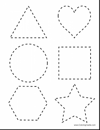 terrific printable shape tracing worksheet with shape coloring