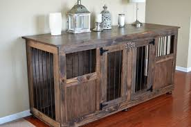 Dog Crate Furniture Bench Custom Dog Crate Half Panel Front Pine Main