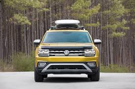 volkswagen atlas sel a volkswagen atlas with a roof box is an adventure vehicle