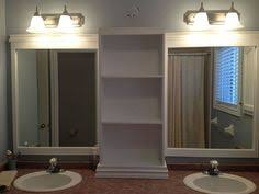 Bathroom Mirror Storage by Revamp Large Bathroom Mirror Frame With A Shelf Down The Middle