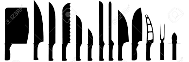 different kinds of kitchen knives different types of kitchen knives silhouettes isolated on white