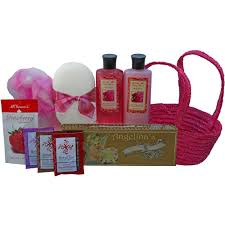tranquil delights spa bath and body gift basket set with tea and