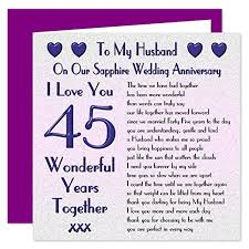 my husband 45th wedding anniversary card on our sapphire
