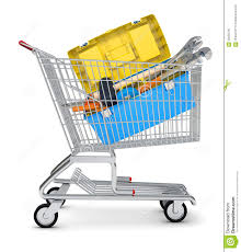 box cart tool box in shopping cart stock illustration image 56250795
