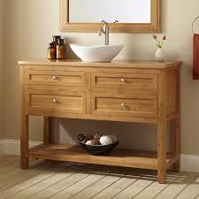 Bathroom Vanity With Shelf unpolished oak wood freestanding bathroom vanity with open shelf