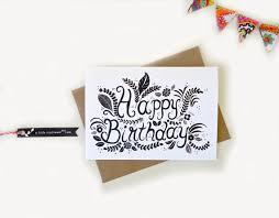 happy birthday card hand drawn typography by alittlebirdtweetme