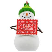 feliz navidad snowman spanish language hallmark ornament