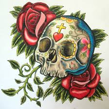 red roses and sugar skull tattoo design in 2017 real photo