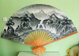 oriental fan wall hanging vintage large japanese fan oriental asian antique wall hanging hand