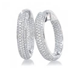 inside out diamond hoop earrings 18k 3 40 carats white gold diamond inside out pave hoop earrings