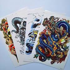 4 sheet large temporary tattoos paper sticker 3d big size colorful