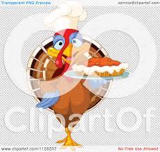 pumpkin no background cartoon of a cute chef turkey bird serving a thanksgiving pumpkin