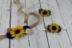 Country Shabby Chic Wedding by Sunflower Sash U0026 Sunflower Headband Flower Dress Accessory