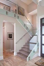 Stair Banister Glass Glass Stair Railing Staircase Contemporary With Carpeted Stairs