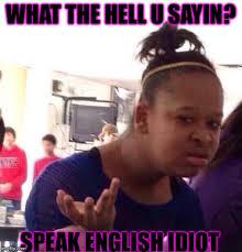 Idiot Memes - what the hell u sayin speak english idiot meme