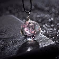 real crystal necklace images Best buy quot ris handmade real dandelion glass mini wish bottle vial jpg