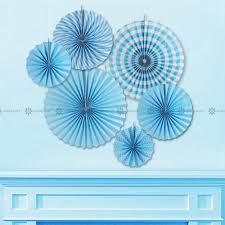 paper fan circle decorations blue birthday party paper decoration kit banner tassel garland paper