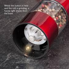 electric salt pepper mill grinder with light unbelievable electronic illuminated salt u pepper mill grinders red