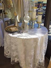 ivory lace table runner white embroidered lace with silver sequence overlay lace tablecloth