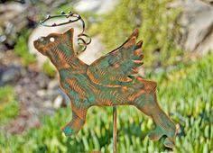 Sheet Metal Garden Art - german shepherd angel dog garden stake pet memorial pet grave