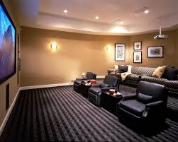 captivating wooden marterial and blue details small media room