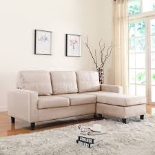 Microfiber Reversible Chaise Sectional Sofa Small Space Linen Fabric Sectional Sofa With Reversible Chaise