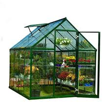 palram bella 8 ft x 12 ft silver polycarbonate greenhouse 703730