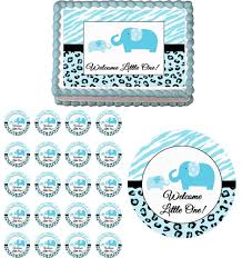 sweet safari blue elephants edible baby shower cake cupcake topper