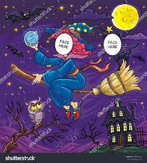 halloween flying witch black cat owl stock illustration 483901669