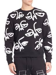 halloween sweaters haculla all eyes on me chenille embroidery sweatshirt in white for